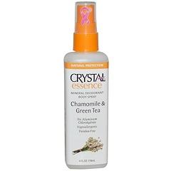 Crystal Body Deodorant, Crystal Essence، مزيل رائحة عرق من المعادن، البابونج والشاي الأخضر، 4 أونصة (118 مل)