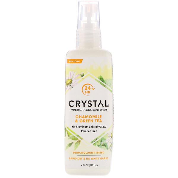 Crystal Body Deodorant, ミネラルデオドラントスプレー、カモミール & 緑茶、4液量オンス (118 ml)