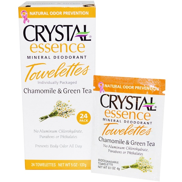 Crystal Body Deodorant, Crystal Essence Mineral Deodorant Towelettes, Chamomile & Green Tea, 24 Towelettes, 0.1 oz (4 g) Each (Discontinued Item)