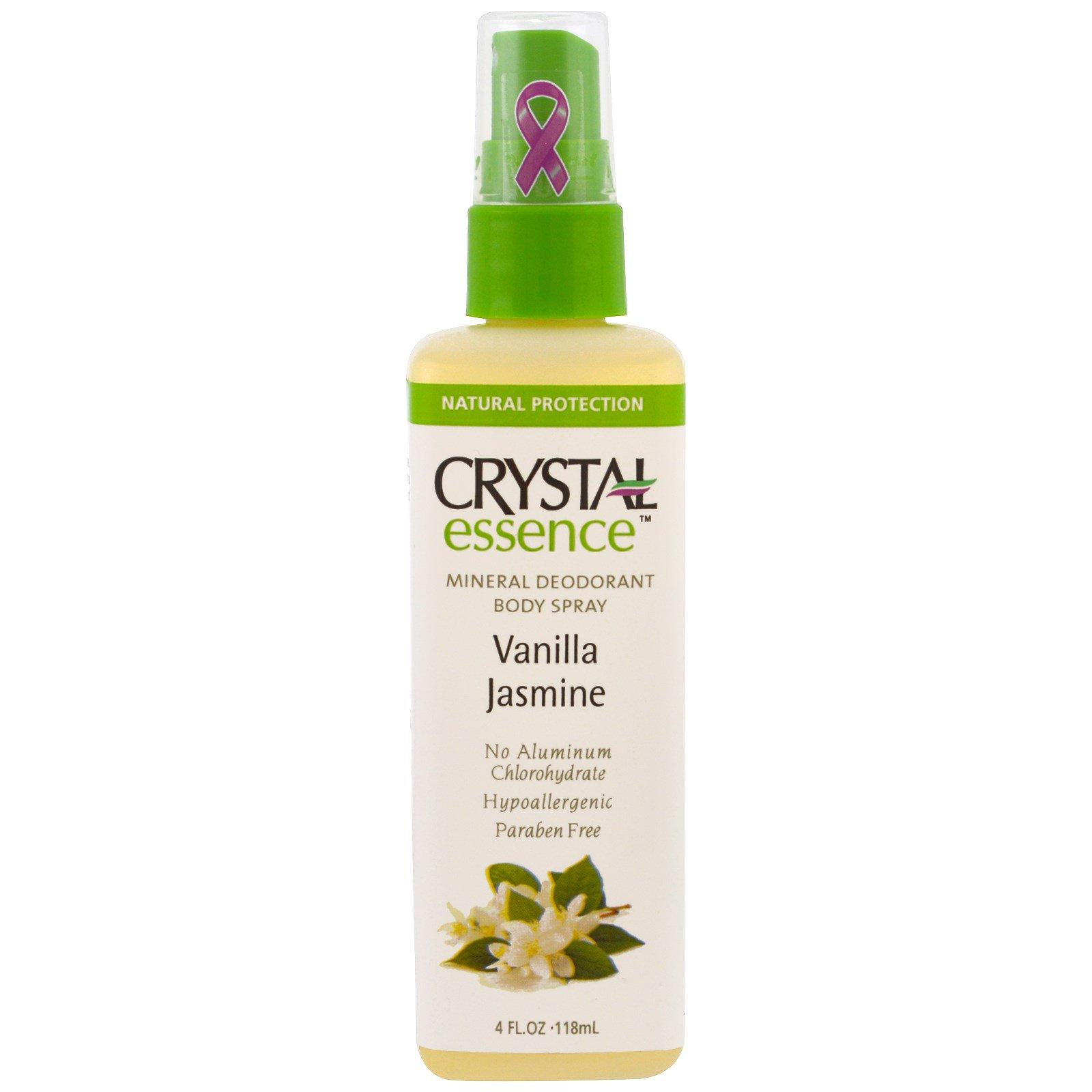Crystal Body Deodorant, Crystal Essence, Минеральный дезодорант-спрей для тела, Ваниль и жасмин, 4 унции (118 мл)