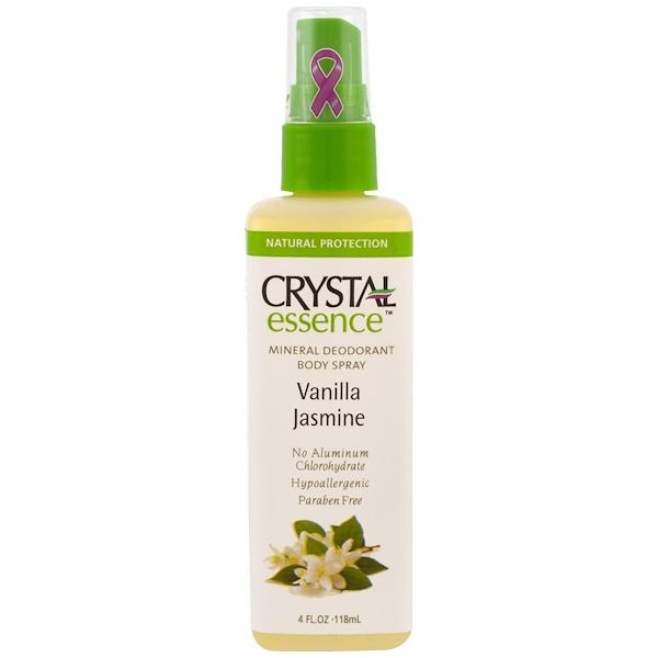 Crystal Body Deodorant, 水晶精華,礦物體香噴霧劑,香草茉莉味,4液體盎司(118毫升)