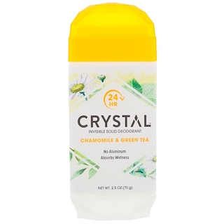 Crystal Body Deodorant, Invisible Solid Deodorant, Chamomile & Green Tea, 2.5 oz (70 g)