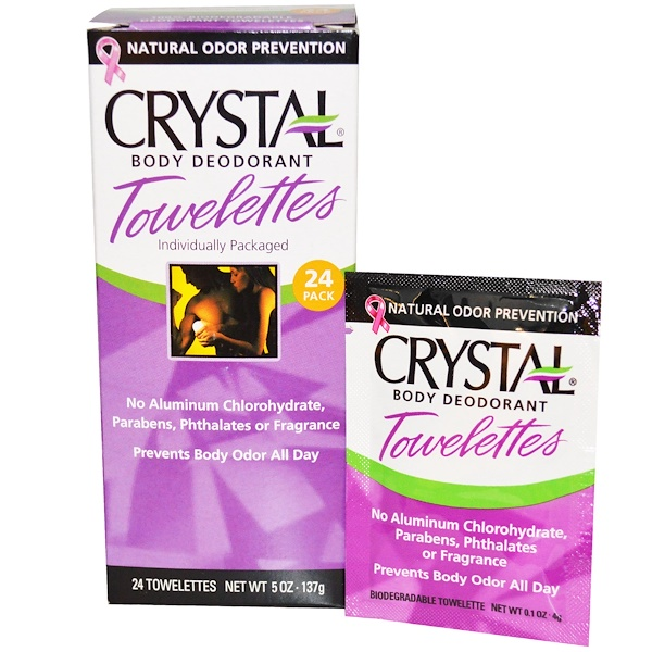 Crystal Body Deodorant, Crystal Body Deodorant Towelettes, 24 Towelettes, 0.1 oz (4 g) Each (Discontinued Item)