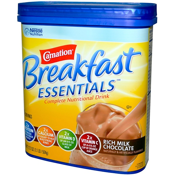 Carnation Breakfast Essentials, Complete Nutritional Drink, Rich Milk Chocolate, 17.7 oz (504 g) (Discontinued Item)