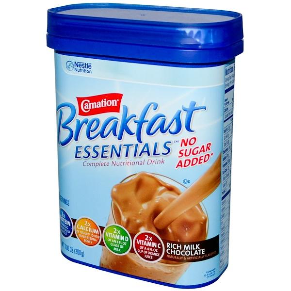 Carnation Breakfast Essentials, No Sugar Added, Rich Milk Chocolate, 7.05 oz (200 g) (Discontinued Item)