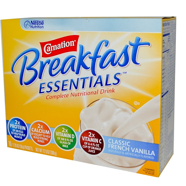 Carnation Breakfast Essentials, Classic French Vanilla, 10 Packets, 1.26 oz (36 g) Each  (Discontinued Item)
