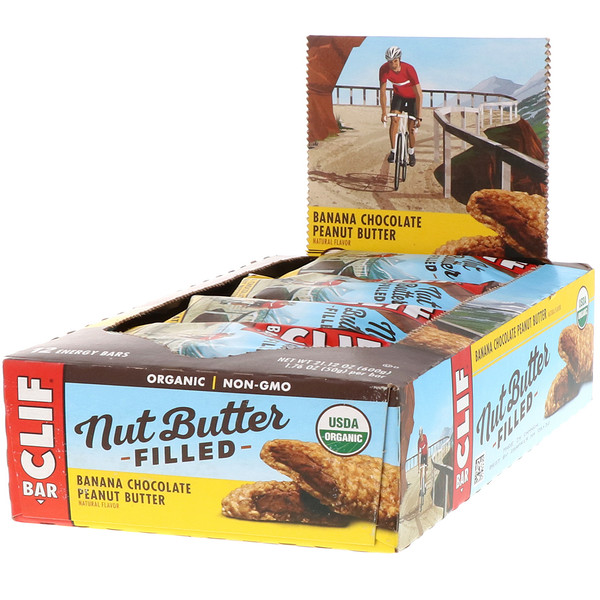 Clif Bar, Nut Butter Filled Energy Bar, Banana Chocolate Peanut Butter, 12 Bars, 1.76 oz (50 g) Each (Discontinued Item)
