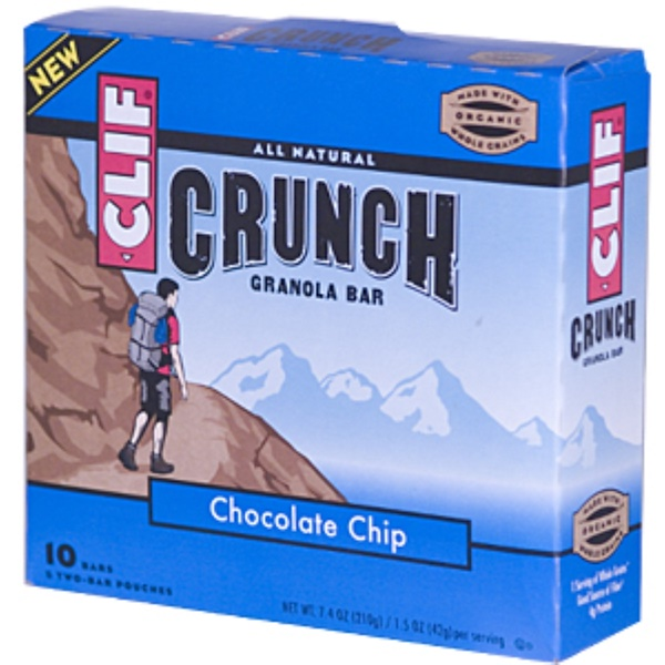 Clif Bar, Crunch Granola Bar, Chocolate Chip, 10 Bars (5 Two-Bar Pouches), 1.5 oz (42 g) Each (Discontinued Item)