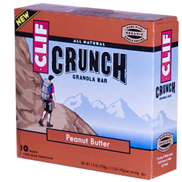 Clif Bar, Crunch Granola Bar, Peanut Butter, 10 Bars (5 Two-Bar Pouches), 1.5 oz (42 g) Each (Discontinued Item)