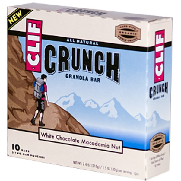 Clif Bar, Crunch Granola Bar, White Chocolate Macadamia Nut, 10 Bars (5 Two-Bar Pouches), 1.5 oz (42 g) Each (Discontinued Item)