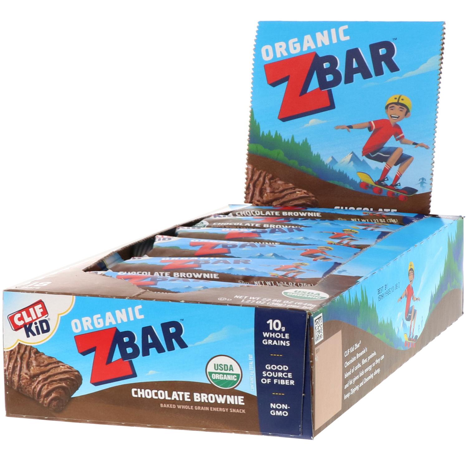 Clif Bar, Clif Kid, Organic Z Bar, Chocolate Brownie, 18 Bars, 1 27 oz (36  g) Each