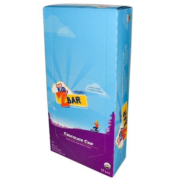 Clif Bar, Clif兒童,有機營養棒,巧克力屑,18條,每條1、27盎司(36克)