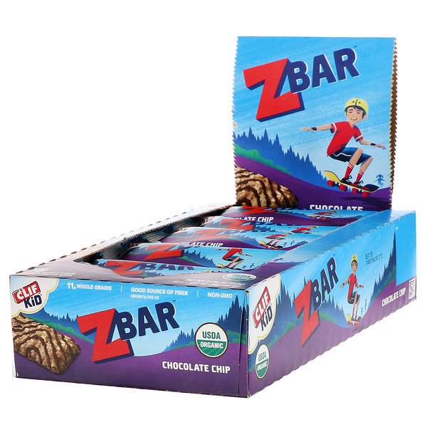 Clif Bar, Clif Kid, Organic Z Bar, Chocolate Chip, 18 Bars, 1.27 oz (36 g) Each