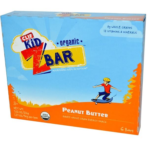 Clif Bar, 클리프 키드, 유기농 Z 바, 땅콩 버터, 6 개 바, 각각 1.27 온스 (36 그램)  (Discontinued Item)