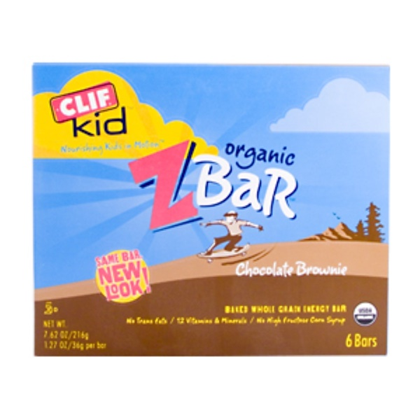 Clif Bar, Clif Kids, Organic ZBar, Chocolate Brownie, 6 Bars, 7.62 oz (216 g) (Discontinued Item)