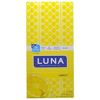 Clif Bar, Luna Whole Nutrition Bar, Lemonzest, 15 Bars, 1.69 oz (48 g) Each