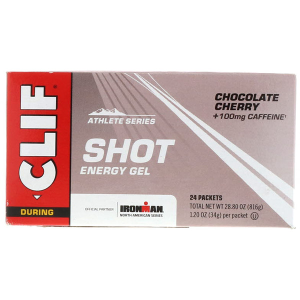 Clif Bar, 샷 에너지 젤, 초콜릿 체리 + 100mg 카페인, 24봉지, 각 34g(1.20oz)