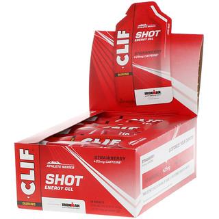 Clif Bar, Shot Energy Gel, frutilla + 25mg de cafeína, 24 paquetes, 1,2oz (34g) cada uno