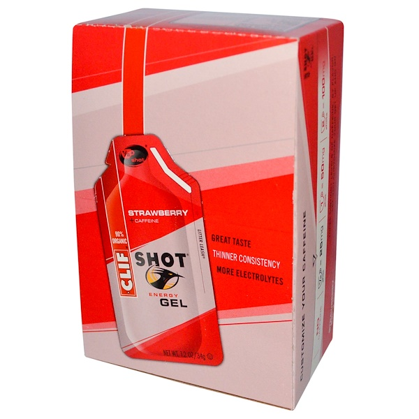 Clif Bar, Энергетический гель Shot, клубника + кофеин, 24 пакетика, по 1,2 унции (34 г) каждый