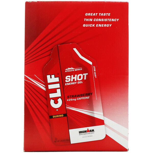 Shot Energy Gel, Strawberry + 25 mg Caffeine, 24 Packets, 1.2 oz (34 g) Each