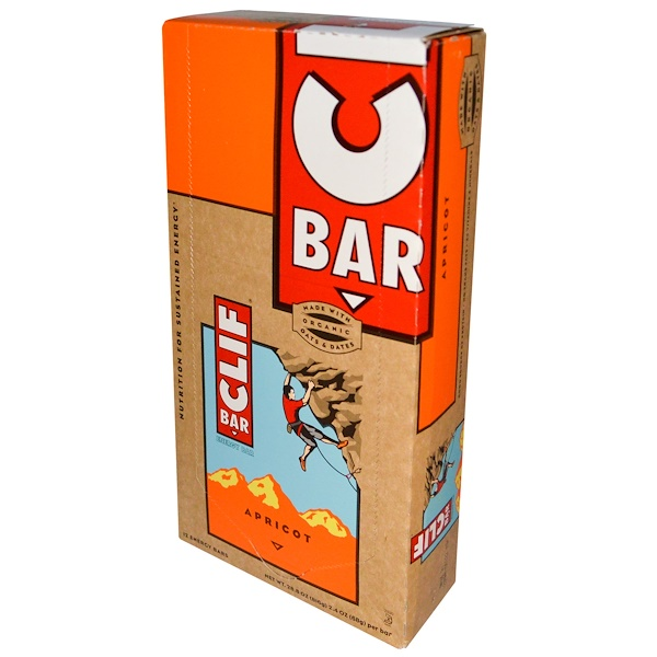 Clif Bar, Energy Bar, Apricot, 12 Bars, 2.4 oz (68 g) Each