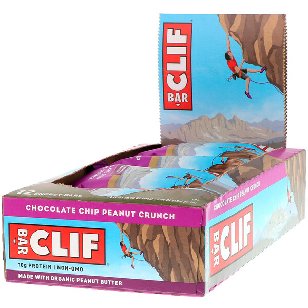 Clif Bar, Energy Bar, Chocolate Chip Peanut Crunch, 12 Bars, 2.40 oz (68 g) Each