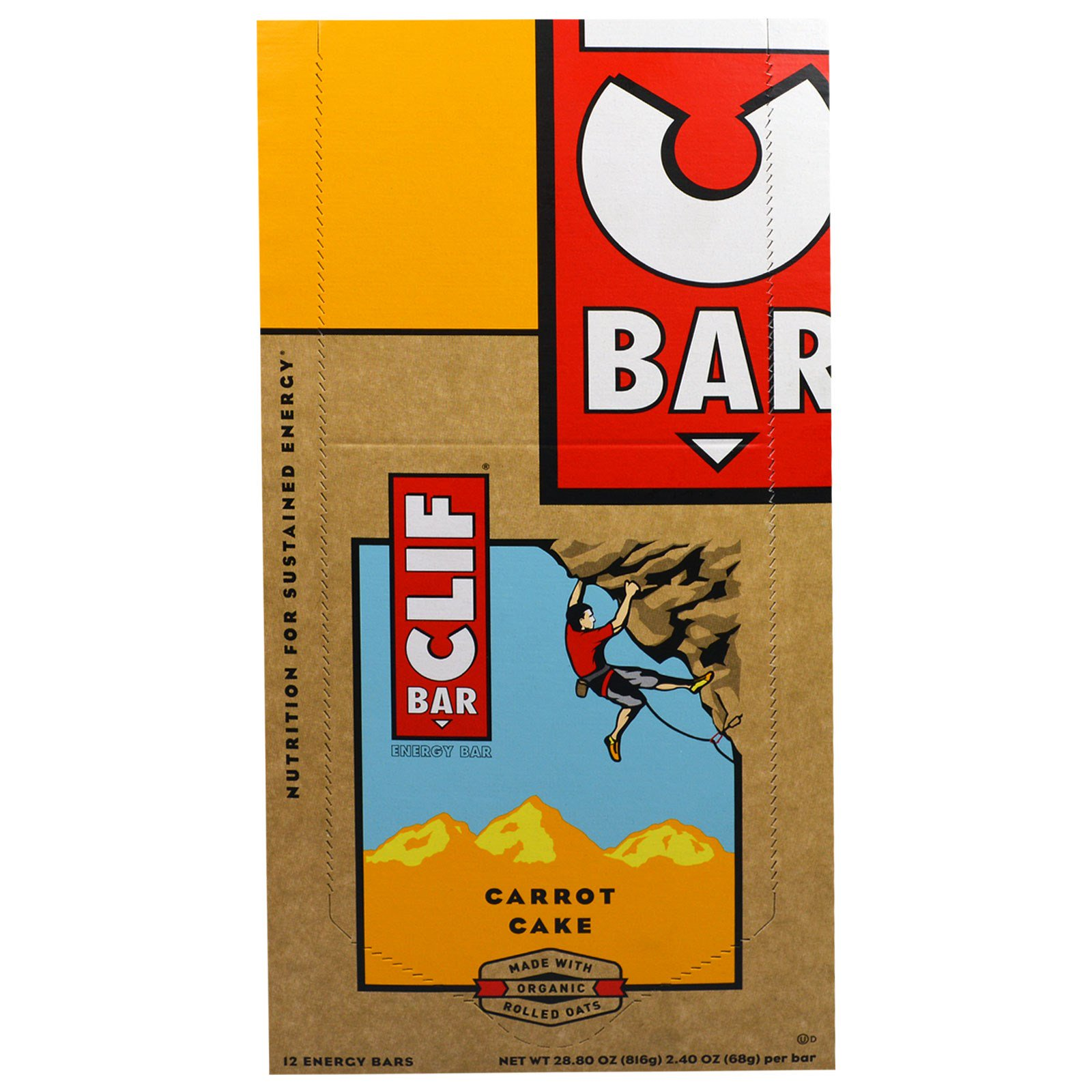 Clif Bar, Energy Bar, Carrot Cake, 12 Bars, 2.40 oz (68 g) Each