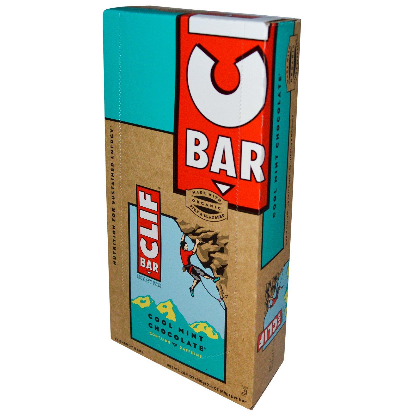 Clif Bar, Энергетические батончики с освежающим вкусом мятного шоколада, 12 шт. по  75г каждый