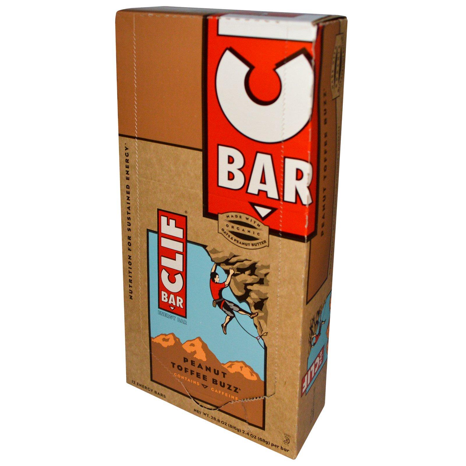 Clif Bar, Энергетический батончик, Peanut Toffee Buzz, 12 батончиков, 2,4 унц. (68 г) каждый