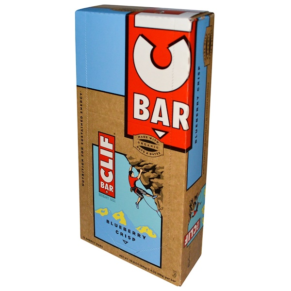 Clif Bar, Energy Bar, Blueberry Crisp, 12 Bars, 2.4 oz (68 g) Each