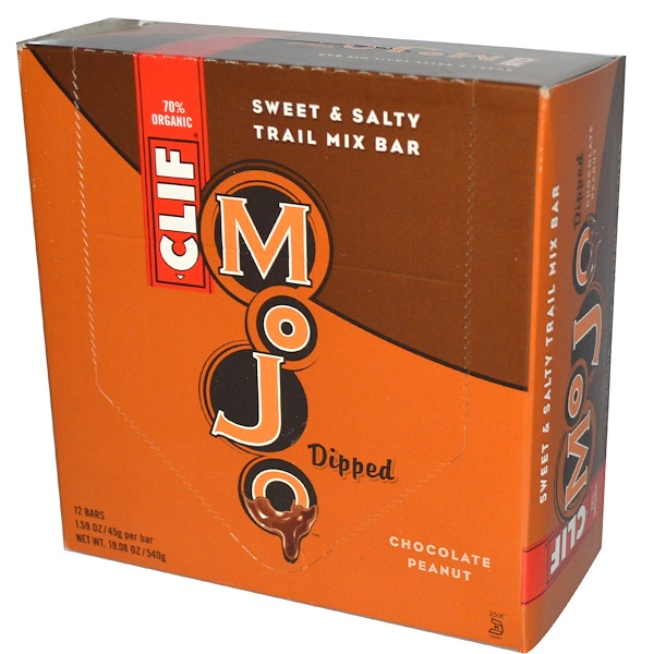 Clif Bar, Mojo Dipped, Sweet & Salty Trail Mix Bar, Chocolate Peanut, 12 Bars, 1.59 oz (45 g) Per Bar (Discontinued Item)