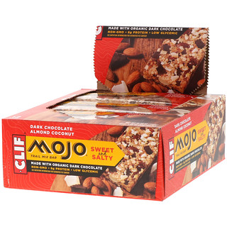 Clif Bar, Mojo, Sweet and Salty Trail Mix Bar, Dark Chocolate Almond Coconut, 12 Bars, 1.59 oz (45 g) Each