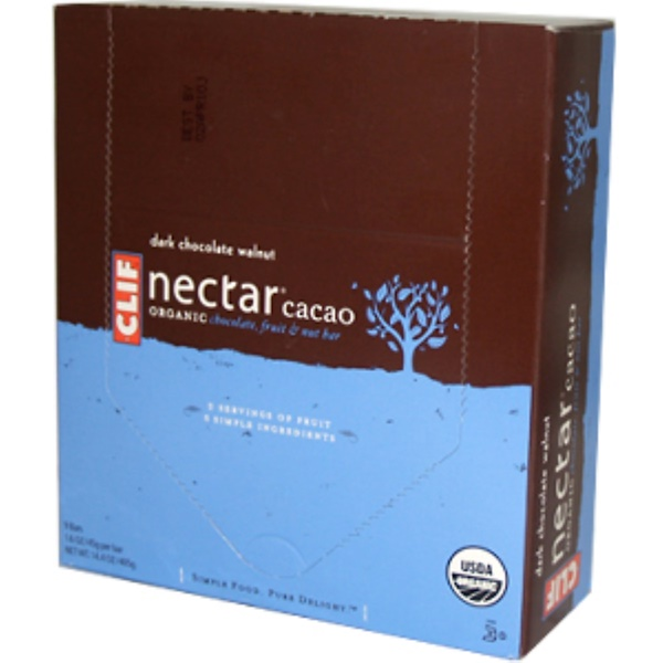 Clif Bar, Nectar Cacao Bar, Dark Chocolate Walnut, 9 Bars, 14.4 oz (405 g) (Discontinued Item)