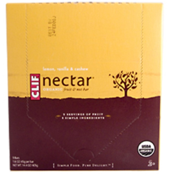 Clif Bar, Nectar Lemon Vanilla & Cashew, Organic Fruit & Nut Bar, 9 Bars, 14.4 oz (405 g) (Discontinued Item)