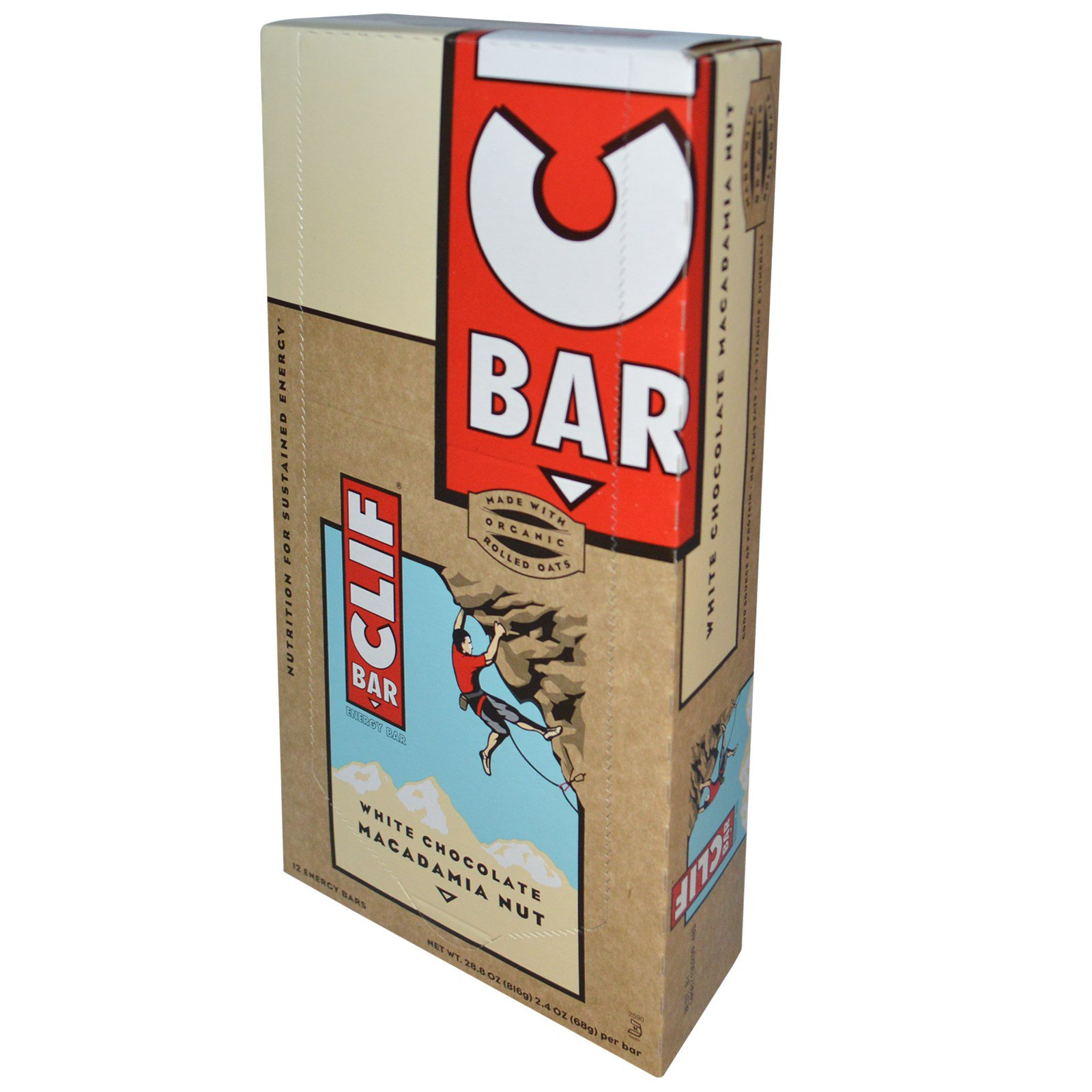Clif Bar, Energy Bar, White Chocolate Macadamia Nut, 12 Bars, 2.4 oz (68 g) Each