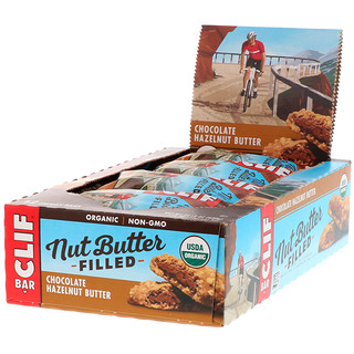 Clif Bar, Organic Nut Butter Filled Energy Bar, Chocolate Hazelnut Butter, 12 Energy Bars, 1.76 oz (50 g) Each