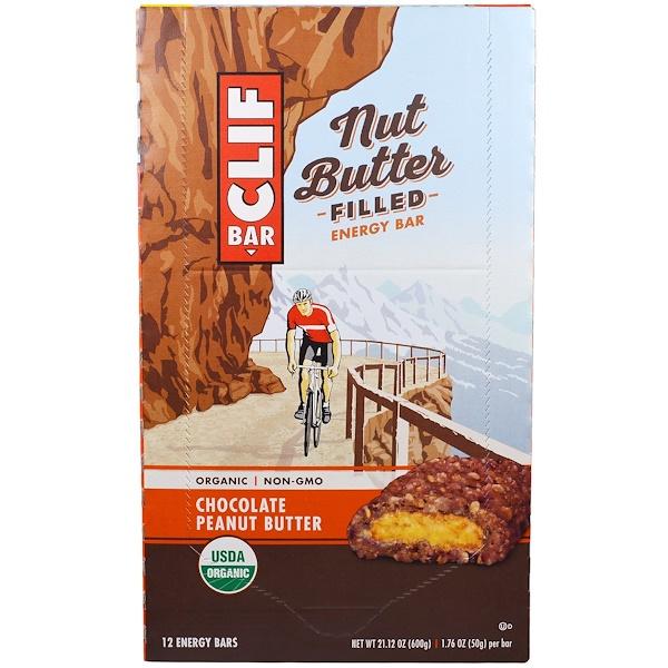 Clif Bar, 有機,堅果黃油能量棒,巧克力花生醬,12條能量棒,每條1、76盎司(50克)