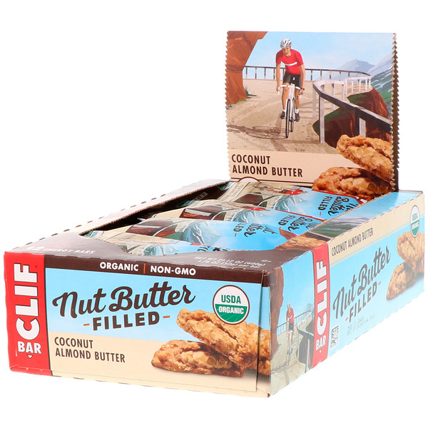 Clif Bar, Organic, Nut Butter Filled Energy Bar, Coconut Almond Butter, 12 Energy Bars, 1.76 oz (50 g) Each