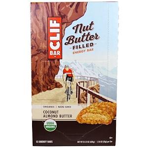 Clif Bar, Энергетический батончик с органическим ореховым маслом, кокосовое и миндальное масло, 12 батончиков, 1.76 унции(50 г) каждый
