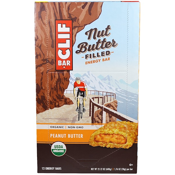 Clif Bar, Энергетический батончик с органическим ореховым маслом, арахисовое масло, 12 батончиков, по 1.76 унции(50 г) каждый (Discontinued Item)