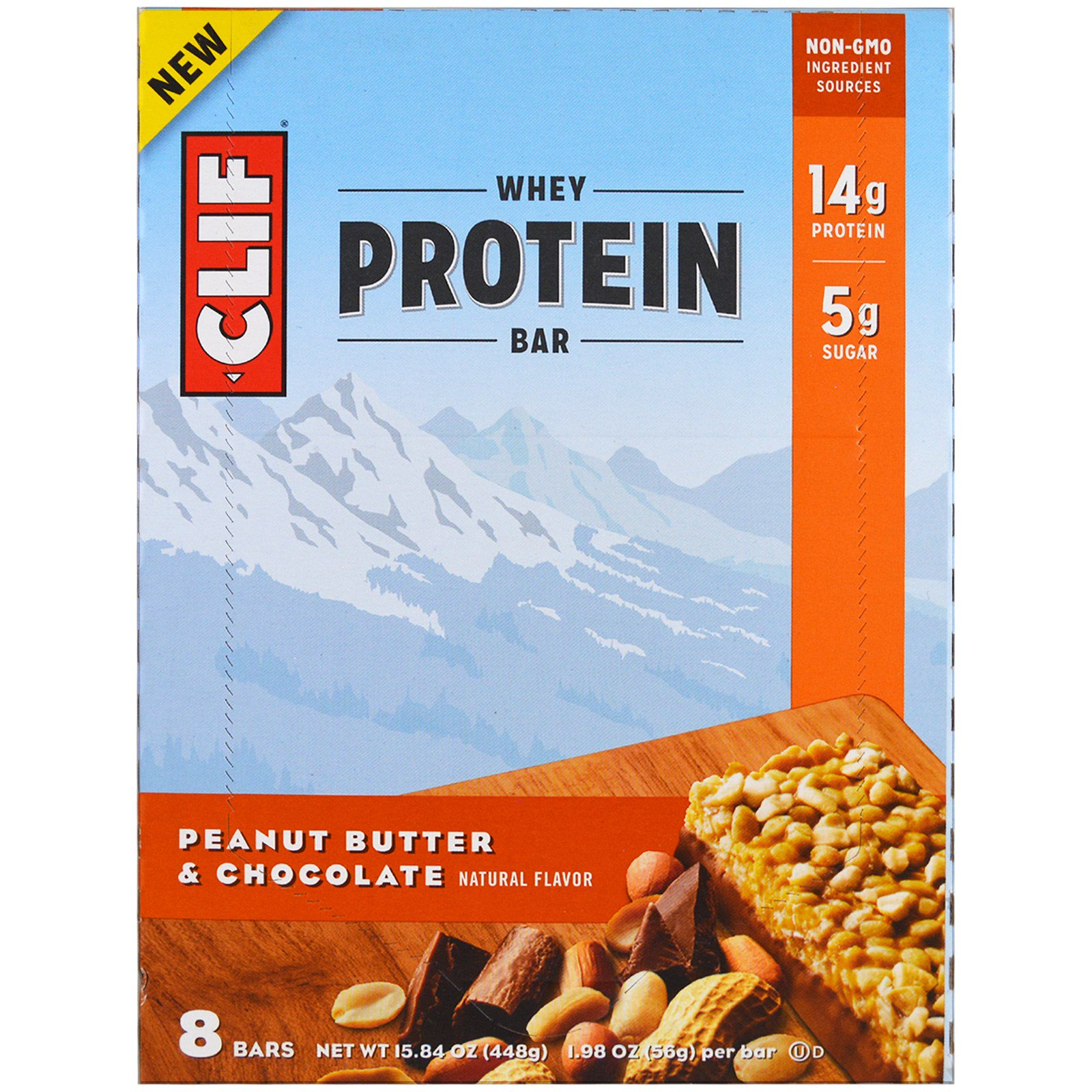 Clif Bar, Батончик с сывороточным протеином, арахисовое масло и шоколад, 8 батончиков, 1,98 унции (56 г) каждый