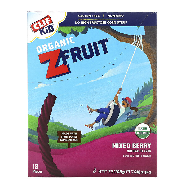 Clif Bar, Clif Kid, Organic ZFruit Rope, Mixed Berry, 18 Pieces, 0.7 oz (20 g) Each