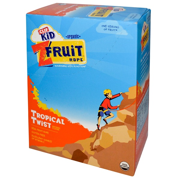 Clif Bar, Clif Kid, Organic ZFruit Rope, Tropical Twist, 18 Pieces, 0.7 oz (20 g) Each (Discontinued Item)