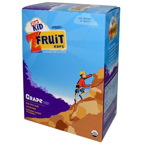 Clif Bar, Clif Kid, Organic ZFruit Rope, Grape, 18 Pieces, 0.7 oz (20 g) Each (Discontinued Item)
