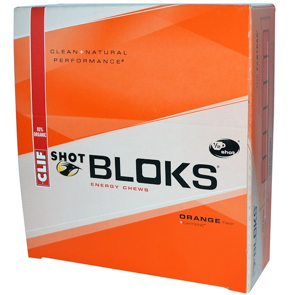Clif Bar, Shot Bloks Energy Chews, Orange Flavor + Caffeine, 18 Packets, 2.1 oz (60 g) Each