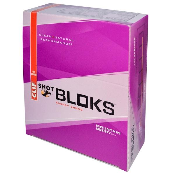 Clif Bar, Shot Bloks能量咀嚼物,山漿果,18包,每個2、1盎司(60克)