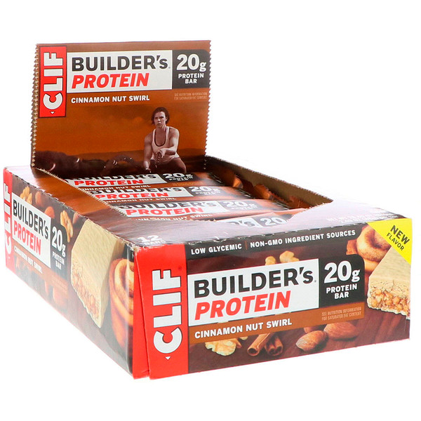 Clif Bar, Builder's Protein Bar, Cinnamon Nut Swirl, 12 Bars, 2、40 oz (68 g) Each