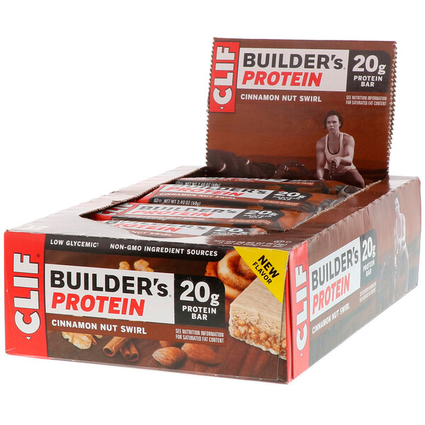 Builder's Protein Bar, Cinnamon Nut Swirl, 12 Bars, 2.40 oz (68 g) Each