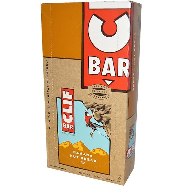 Clif Bar, Energy Bar, Banana Nut Bread, 12 Bars, 2.4 oz (68 g) Per Bar (Discontinued Item)