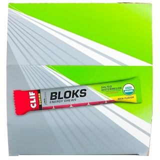 Clif Bar, Энергетические жевательные конфеты Bloks, соленый арбуз, в 2 раза больше натрия, 18 пакетиков, 2,12 унц. (60 г) каждый